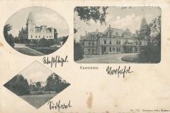 Pałac.-Widoczne-w-kolejności-skrzydło-zachodnie-północne-oraz-południowe-od-strony-rzeki-Dramy.-Stan-z-przełomu-XIX-i-XX-wieku.
